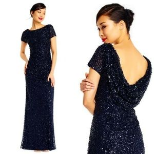 Short Sleeve Sequin Beaded Gown With Cowl Back Nav